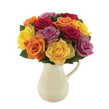 Classic multi-colored roses in a pitcher (BF132-11KM)